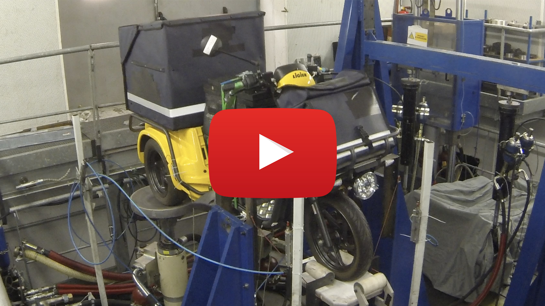 LIGIER SCOOTER GROUP USES  UNIQUE THREE POST SHAKER TEST BENCH AT MORTEFONTAINE